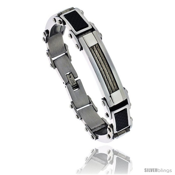 https://www.silverblings.com/486-thickbox_default/gents-stainless-steel-cable-black-carbon-fiber-bracelet-5-8-in-wide-8-1-2-in-long.jpg
