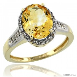 10k Yellow Gold Diamond Citrine Ring 2.4 ct Oval Stone 10x8 mm, 1/2 in wide