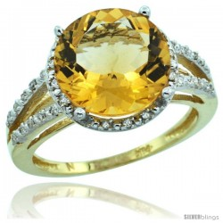 10k Yellow Gold Diamond Citrine Ring 5.25 ct Round Shape 11 mm, 1/2 in wide