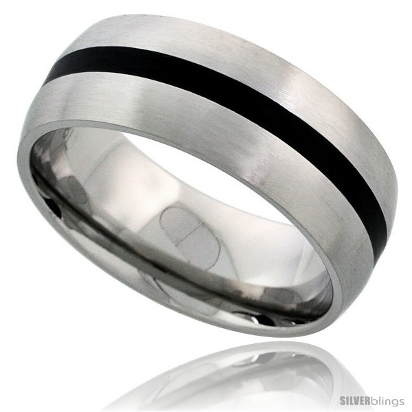 https://www.silverblings.com/4861-thickbox_default/surgical-steel-domed-8mm-wedding-band-ring-black-stripe-inlay-center-matte-finish-comfort-fit.jpg