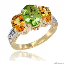 10K Yellow Gold Ladies 3-Stone Oval Natural Peridot Ring with Citrine Sides Diamond Accent