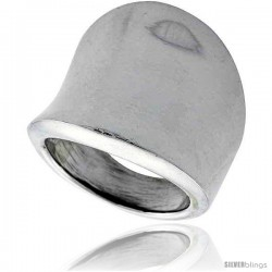 Sterling Silver Concaved Cigar Band Ring 7/8 in long