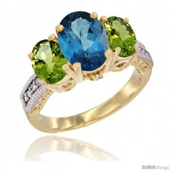 14K Yellow Gold Ladies 3-Stone Oval Natural London Blue Topaz Ring with Peridot Sides Diamond Accent