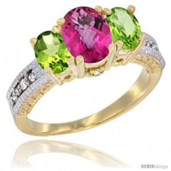 14k Yellow Gold Ladies Oval Natural Pink Topaz 3-Stone Ring with Peridot Sides Diamond Accent