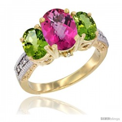 14K Yellow Gold Ladies 3-Stone Oval Natural Pink Topaz Ring with Peridot Sides Diamond Accent