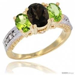 14k Yellow Gold Ladies Oval Natural Smoky Topaz 3-Stone Ring with Peridot Sides Diamond Accent