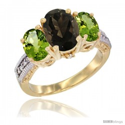 14K Yellow Gold Ladies 3-Stone Oval Natural Smoky Topaz Ring with Peridot Sides Diamond Accent