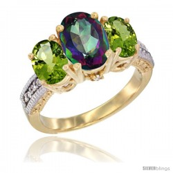 14K Yellow Gold Ladies 3-Stone Oval Natural Mystic Topaz Ring with Peridot Sides Diamond Accent