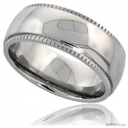 Surgical Steel 8mm Wedding Band Ring Milgrain-edged High Polished Finish Comfort-fit