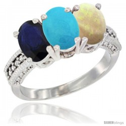 14K White Gold Natural Blue Sapphire, Turquoise & Opal Ring 3-Stone 7x5 mm Oval Diamond Accent