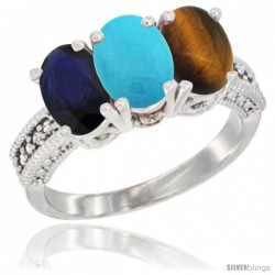 14K White Gold Natural Blue Sapphire, Turquoise & Tiger Eye Ring 3-Stone 7x5 mm Oval Diamond Accent