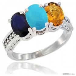 14K White Gold Natural Blue Sapphire, Turquoise & Whisky Quartz Ring 3-Stone 7x5 mm Oval Diamond Accent