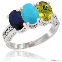 14K White Gold Natural Blue Sapphire, Turquoise & Lemon Quartz Ring 3-Stone 7x5 mm Oval Diamond Accent