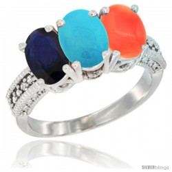 14K White Gold Natural Blue Sapphire, Turquoise & Coral Ring 3-Stone 7x5 mm Oval Diamond Accent
