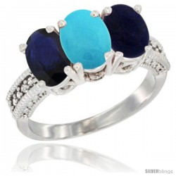 14K White Gold Natural Blue Sapphire, Turquoise & Lapis Ring 3-Stone 7x5 mm Oval Diamond Accent