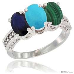 14K White Gold Natural Blue Sapphire, Turquoise & Malachite Ring 3-Stone 7x5 mm Oval Diamond Accent