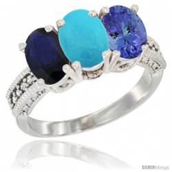 14K White Gold Natural Blue Sapphire, Turquoise & Tanzanite Ring 3-Stone 7x5 mm Oval Diamond Accent