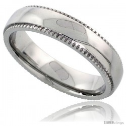 Surgical Steel 5mm Wedding Band Ring Milgrain-edged High Polished Finish Comfort-fit