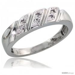 10k White Gold Ladies' Diamond Wedding Band, 3/16 in wide -Style Ljw116lb