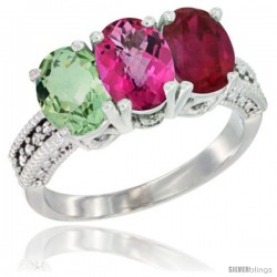 14K White Gold Natural Green Amethyst, Pink Topaz & Ruby Ring 3-Stone 7x5 mm Oval Diamond Accent