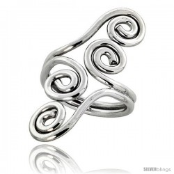 Sterling Silver Hand Made Freeform Wire Wrap Ring, 1 1/4 in (34 mm) wide -Style Xrw49