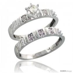 10k White Gold Ladies' 2-Piece Diamond Engagement Wedding Ring Set, 1/8 in wide -Style Ljw117e2