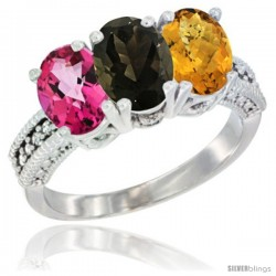 14K White Gold Natural Pink Topaz, Smoky Topaz & Whisky Quartz Ring 3-Stone 7x5 mm Oval Diamond Accent