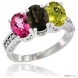 14K White Gold Natural Pink Topaz, Smoky Topaz & Lemon Quartz Ring 3-Stone 7x5 mm Oval Diamond Accent