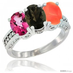 14K White Gold Natural Pink Topaz, Smoky Topaz & Coral Ring 3-Stone 7x5 mm Oval Diamond Accent