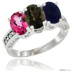 14K White Gold Natural Pink Topaz, Smoky Topaz & Lapis Ring 3-Stone 7x5 mm Oval Diamond Accent