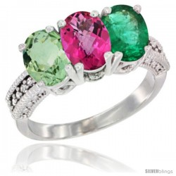 14K White Gold Natural Green Amethyst, Pink Topaz & Emerald Ring 3-Stone 7x5 mm Oval Diamond Accent