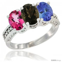14K White Gold Natural Pink Topaz, Smoky Topaz & Tanzanite Ring 3-Stone 7x5 mm Oval Diamond Accent
