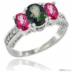 14k White Gold Ladies Oval Natural Mystic Topaz 3-Stone Ring with Pink Topaz Sides Diamond Accent