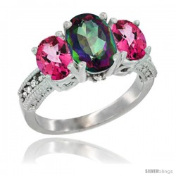 14K White Gold Ladies 3-Stone Oval Natural Mystic Topaz Ring with Pink Topaz Sides Diamond Accent