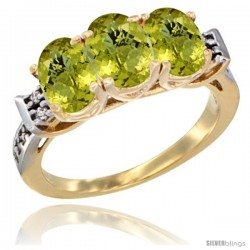 10K Yellow Gold Natural Lemon Quartz Ring 3-Stone Oval 7x5 mm Diamond Accent