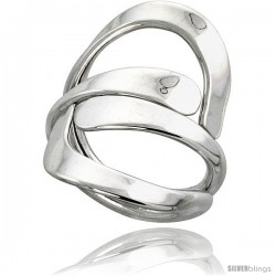 Sterling Silver Hand Made Freeform Wire Wrap Ring, 1 1/4 in (32 mm) wide -Style Xrw47