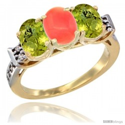 10K Yellow Gold Natural Coral & Lemon Quartz Sides Ring 3-Stone Oval 7x5 mm Diamond Accent