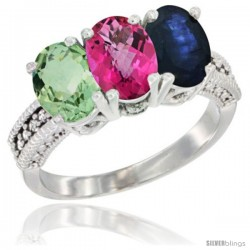 14K White Gold Natural Green Amethyst, Pink Topaz & Blue Sapphire Ring 3-Stone 7x5 mm Oval Diamond Accent