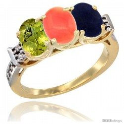 10K Yellow Gold Natural Lemon Quartz, Coral & Lapis Ring 3-Stone Oval 7x5 mm Diamond Accent