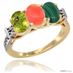 10K Yellow Gold Natural Lemon Quartz, Coral & Malachite Ring 3-Stone Oval 7x5 mm Diamond Accent