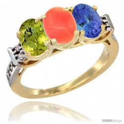 10K Yellow Gold Natural Lemon Quartz, Coral & Tanzanite Ring 3-Stone Oval 7x5 mm Diamond Accent