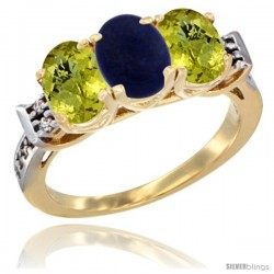10K Yellow Gold Natural Lapis & Lemon Quartz Sides Ring 3-Stone Oval 7x5 mm Diamond Accent