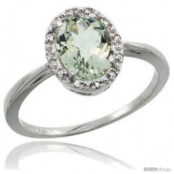 10k White Gold Green Amethyst Diamond Halo Ring 1.17 Carat 8X6 mm Oval Shape, 1/2 in wide