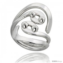 Sterling Silver Hand Made Freeform Wire Wrap Ring, 1 1/4 in (32 mm) wide -Style Xrw45