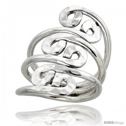 Sterling Silver Hand Made Freeform Wire Wrap Ring, w/ Hammered Finish, 1 1/8 in (29 mm) wide