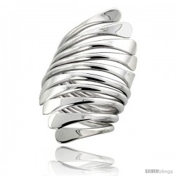 Sterling Silver Hand Made Freeform Wire Wrap Ring, 1 3/8 in (39 mm) wide