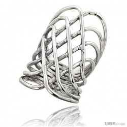 Sterling Silver Hand Made Freeform Wire Wrap Ring, 1 1/2 in (40 mm) wide