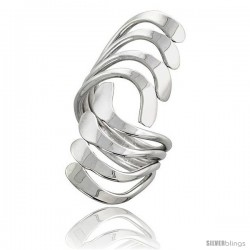 Sterling Silver Hand Made Freeform Wire Wrap Ring, 1 1/2 in (40 mm) wide -Style Xrw52