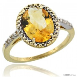 10k Yellow Gold Diamond Citrine Ring 2.4 ct Oval Stone 10x8 mm, 1/2 in wide -Style Cy909111