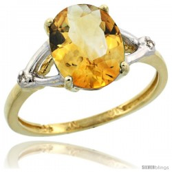 10k Yellow Gold Diamond Citrine Ring 2.4 ct Oval Stone 10x8 mm, 3/8 in wide